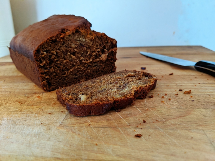 Gluten and dairy free peanut butter banana bread (with added booze!)